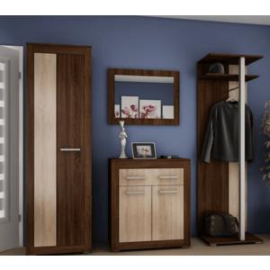 WIP Predsieňová stena NERON Farba: DUb sonoma tmavá / čierny lesk vyobraziť