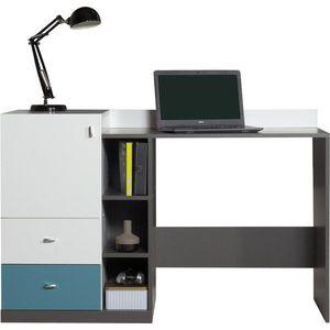 Meblar Písací stôl TABLO TA9 Farba: Grafit/biela/atlantic vyobraziť