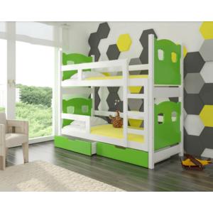 ArtAdr Detská poschodová posteľ Maraba Farba: biela / zelená vyobraziť