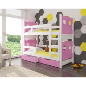 ArtAdr Detská poschodová posteľ Maraba Farba: biela / ružová vyobraziť