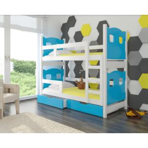 ArtAdr Detská poschodová posteľ Maraba Farba: biela / modrá vyobraziť