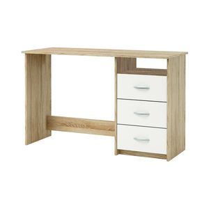Písací stôl dub/perleťovo biela vyobraziť