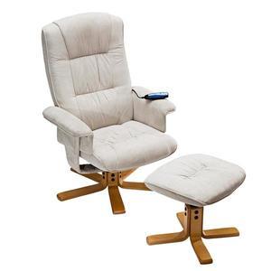Relaxačné masážne kreslo s podnožkou béžové K36 vyobraziť