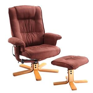 Relaxačné masážne kreslo s podnožkou hnedé K47 vyobraziť