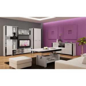 WIP Obývacia stena HUGO II Farba: Biela / čierny lesk vyobraziť