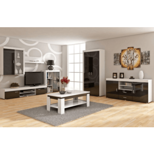 7c60958c0803 WIP Obývacia stena MAMBA Farba  Biela   čierny lesk (58 kúskov ...