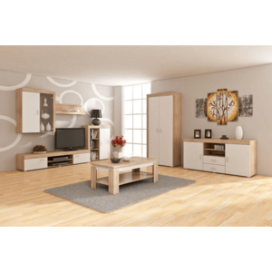 WIP Obývacia stena MAMBA Farba: Dub sonoma svetlá / biely lesk vyobraziť