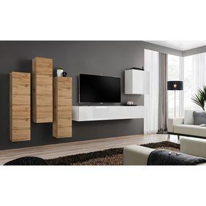 WIP Obývacia stena SWITCH III Farba: biely mat / biely lesk / dub votan vyobraziť