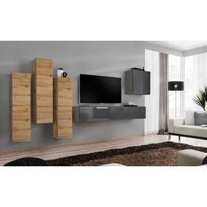 WIP Obývacia stena SWITCH III Farba: dub votan / čierny mat / čierny lesk vyobraziť