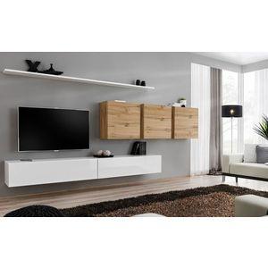WIP-asm Obývacia stena SWITCH VII Farba: dub votan / biely mat / biely lesk vyobraziť
