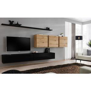 WIP-asm Obývacia stena SWITCH VII Farba: dub votan / čierny mat / čierny lesk vyobraziť