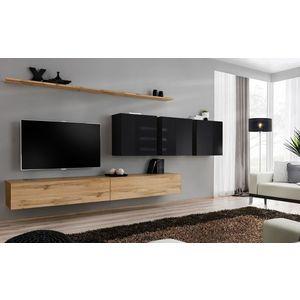 WIP-asm Obývacia stena SWITCH VII Farba: čierny mat / čierny lesk / dub votan vyobraziť