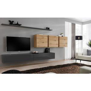 WIP Obývacia stena SWITCH VII Farba: dub votan / čierny mat / čierny lesk vyobraziť