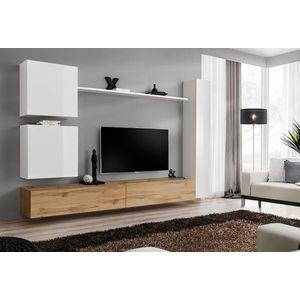 WIP Obývacia stena SWITCH VIII Farba: biely mat / biely lesk / dub votan vyobraziť