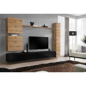 WIP-asm Obývacia stena SWITCH VIII Farba: dub votan / čierny mat / čierny lesk vyobraziť