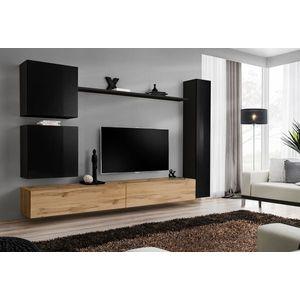 WIP-asm Obývacia stena SWITCH VIII Farba: čierny mat / čierny lesk / dub votan vyobraziť