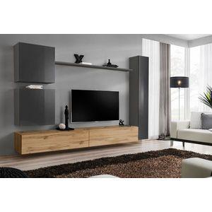 WIP Obývacia stena SWITCH VIII Farba: sivý mat / sivý lesk / dub votan vyobraziť