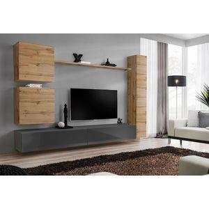 WIP Obývacia stena SWITCH VIII Farba: dub votan / sivý mat / sivý lesk vyobraziť
