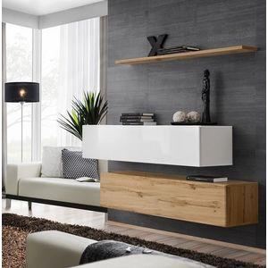 WIP Obývacia stena SWITCH SB II Farba: dub votan / biely mat / biely lesk vyobraziť