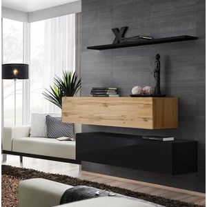 WIP Obývacia stena SWITCH SB II Farba: dub votan / čierny mat / čierny lesk vyobraziť