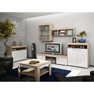 WIP Obývacia stena MAX Farba: Dub sonoma svetlá / biely lesk vyobraziť