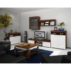 WIP Obývacia stena MAX Farba: dub sonoma tmavý / biely lesk vyobraziť