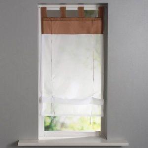 Záclona s pútkami hnedosivá/biela 45x90cm vyobraziť