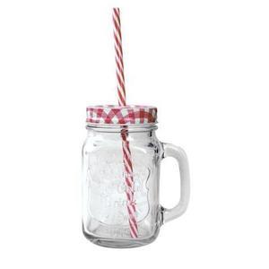 TORO Sklenený pohár s viečkom a slamkou TORO 400ml Mason vyobraziť