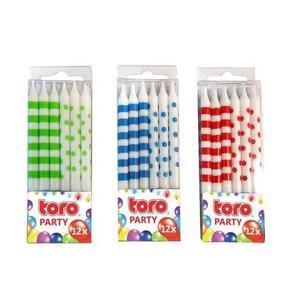 TORO Párty sviečky s držiakom, 0, 5 x 6 cm, 12 ks vyobraziť