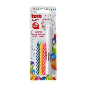 """TORO Spievajúca tortová sviečka """"Happy Birthday"""" + 4 sviečky vyobraziť"""