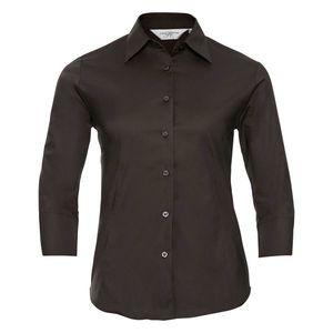 be3548bbf RUSSELL COLECTION Dámska čašnícka košeľa 3/4 rukáv - 4 farby Hnedá, 4XL