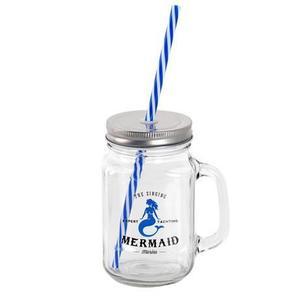 TORO Sklenený pohár s viečkom a slamkou TORO námornícky 450ml vyobraziť