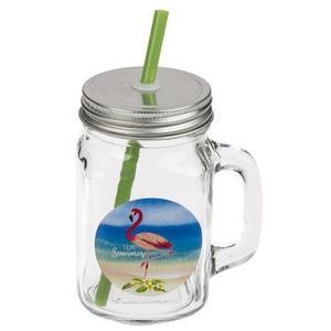TORO Sklenený pohár s viečkom a slamkou TORO 450ml plameniak vyobraziť