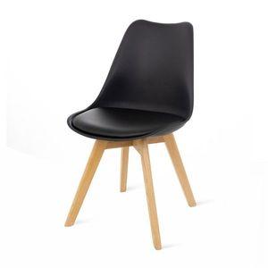 Čierna stolička s bukovými nohami loomi.design Retro vyobraziť