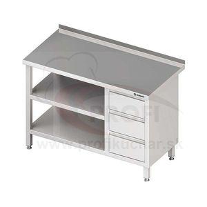 Pracovný stôl so zásuvkami - s dvomi policami 1400x700x850mm vyobraziť