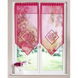 Záclona vitrážová kvety malinová 60x160cm vyobraziť