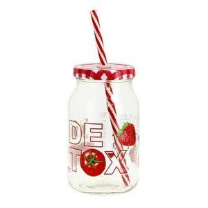 CERVE Sklenený pohár s viečkom a slamkou CERVE Detox 450ml vyobraziť