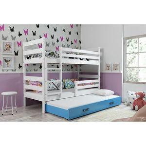 BMS Detská poschodová posteľ s prístelkou ERYK 3 | BIELA Farba: biela / modrá, Rozmer.: 160 x 80 cm vyobraziť