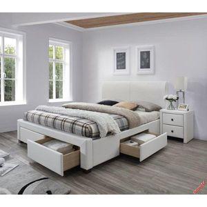 Posteľ Modena 2 rozmer 160x200 cm s úložným priestorom biela Halmar vyobraziť