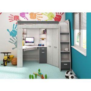 WIP Detská rohová vyvýšená posteľ ANTRESOLA Farba: Craft biely / grafit, pravý vyobraziť