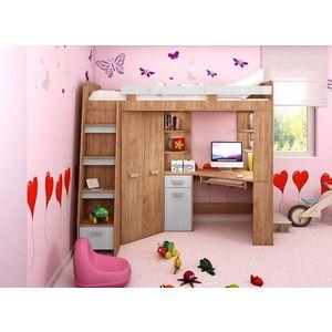 WIP Detská rohová vyvýšená posteľ ANTRESOLA Farba: Craft zlatý / craft biely, ľavý vyobraziť