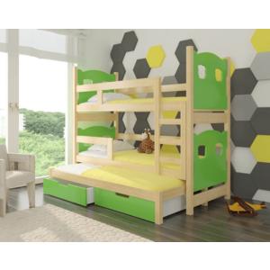 ArtAdr Detská poschodová posteľ Leticia Farba: Borovica/zelená vyobraziť