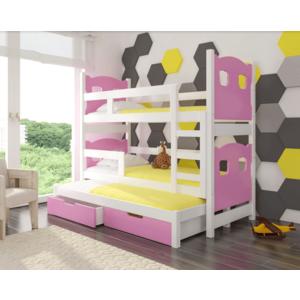 ArtAdr Detská poschodová posteľ Leticia Farba: biela / ružová vyobraziť