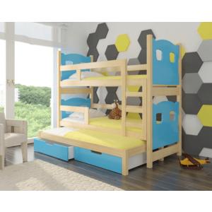 ArtAdr Detská poschodová posteľ Leticia Farba: Borovica / modrá vyobraziť