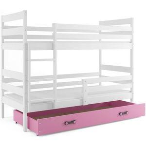 BMS Detská poschodová posteľ ERYK | BIELA Farba: biela / ružová, Rozmer.: 160 x 80 cm vyobraziť