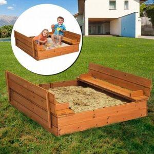 Drevené pieskovisko s lavičkami a krytom vyobraziť