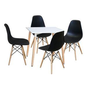 Jedálenský stôl 80x80 UNO biely + 4 stoličky UNO čierne vyobraziť