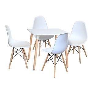 Jedálenský stôl 80x80 UNO biely + 4 stoličky UNO biele vyobraziť