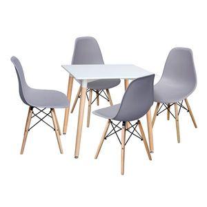 Jedálenský stôl 80x80 UNO biely + 4 stoličky UNO sivé vyobraziť
