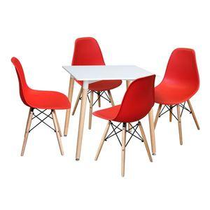 Jedálenský stôl 80x80 UNO biely + 4 stoličky UNO červené vyobraziť